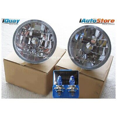 "7"" Inch Super White/Blue Headlights Crystal Semi-Sealed Universal Round H4"
