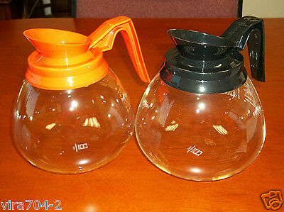 Coffee Pot Decanter for BUNN 64oz. Commercial - 2 Glass Coffee Pots; BLK & ORG