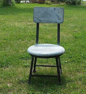 Vintage Industrial Short Shop Stool Steampunk Mid-Century Mechanic Chair