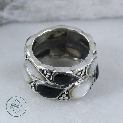 Sterling Silver | Pebbled Onyx MOP Band | Ring