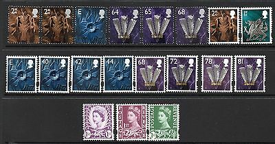 19 Different UM/MNH Wales Regional Definitives Including 2nd Class Side Band