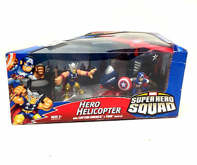 MARVEL HERO SQUAD TOYS Thor & Captian America figures & Helicopter vehicle set