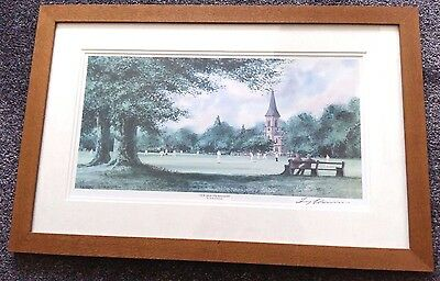 View From The Boundary Terry Harrison Signed Framed Print Village Cricket