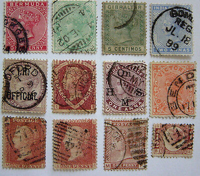 12 used Queen Victoria stamps. British and Overseas.