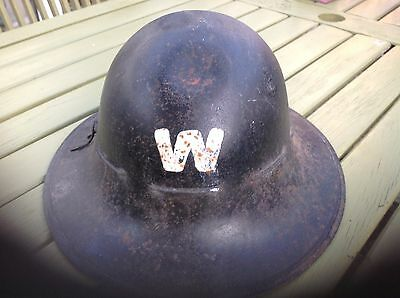 WW2 Original Wardens Rescue Helmet black and white with liner