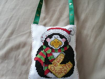 completed cross stitch christmas decoration
