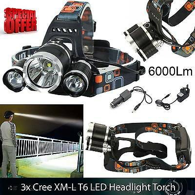 6000 Lm Lumens 3x XM-L T6 LED Rechargeable Head Torch Headlamp Lamp Light