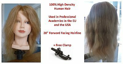 "Bde 100% Genuine High Density Human Hair Cosmetology Female 20"" Training Head"