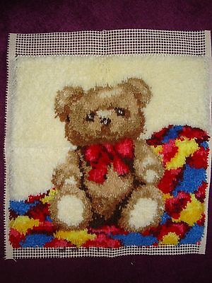 teddy bear Latch Hook Rug kit needs finishing off.