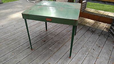 Vintage COLEMAN Folding Camp Table Fold Away Metal Outdoor Game Table