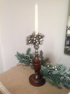 Vintage Oak Candlestick,Baluster Shaped Oak With Candle.