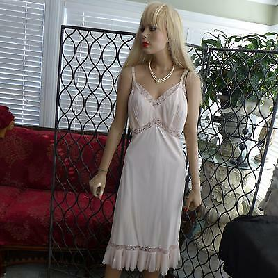 Vintage ~Full SLIP~ Pink Lacy WIDE Ruffle Accordion ~ Pleat SLIP ..bust 38-42