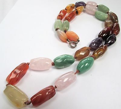 Attractive vintage long hand knotted multi agate & amethyst bead necklace