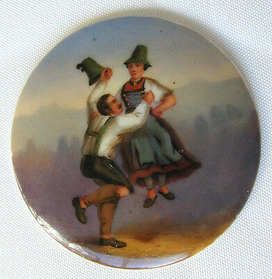 Antique Hand Painted Porcelain Medallion - Couple - Woman Floating