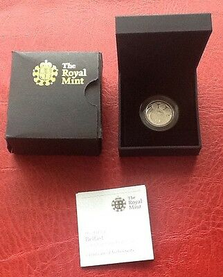 Royal Mint 2010 £1 Belfast Silver Piedfort Proof Coin Coa Mint Condition Boxed