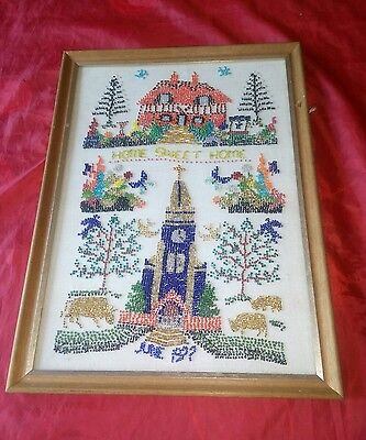 Vintage Sampler Needlework Craftsewing Beaded Beads Picture 1977 Home Sweet Home
