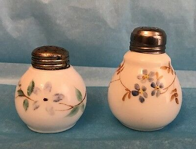Victorian Salt Shakers - Glossy White Opaque Opalware - Floral Sprigs - 1897