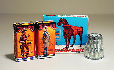 Dollhouse Miniature - Johnny West, Jane West and Thunderbolt Boxes 1:12 scale