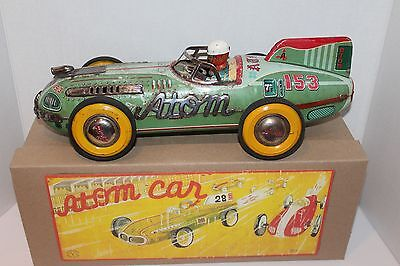 LARGE 1950 YONEZAWA TIN FRICTION #153 ATOM RACE  CAR in BOX
