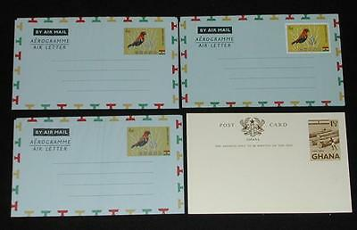 (4) Unused Ghana Stamped Mailing Pieces. 1 Post Card & 3 Air Letters (Air Mail).