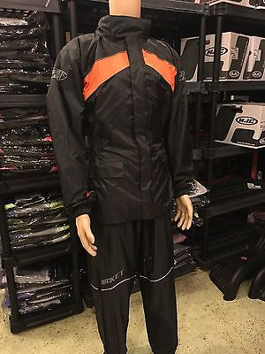 Joe Rocket Rs2 Mens Motorcycle Rain Suit Large  Black Orange Top And Bottoms