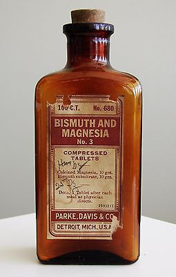 Antique Drug Store Pharmacy Apothecary Medicine Bottle BISMUTH MAGNESIA RX488