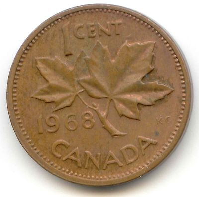 Canada 1968 Canadian Copper One Cent Penny 1c *EXACT* COIN