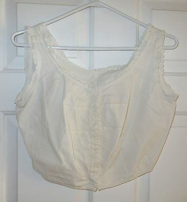 Vintage Antique Victorian Cotton Camisole with White Work and Hooks and Eyes