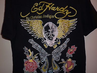Don Ed Hardy  Gun And Skull  Motif T Shirt Size L Excellent Condition