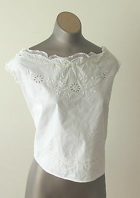 Antique Victorian Ladies Cotton Corset Cover with White Work And Ribbon