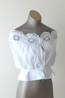 Antique Victorian Ladies Cotton Corset Cover with Lace and Crochet