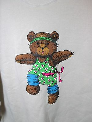 Unused Vintage 80's Sweatshirt Aerobics Teddy Bear Adult Size XXL