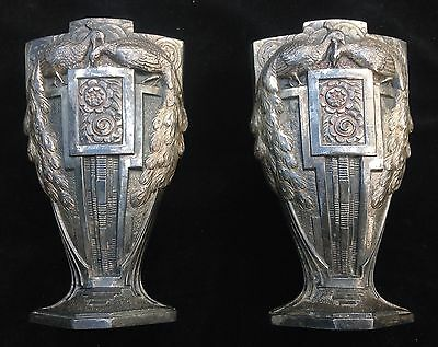 "Pair Of Art Deco Nouveau Pewter Peacock Vases 6"" Tall Vintage"