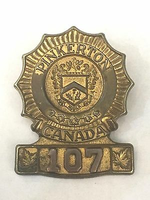 Pinkerton detective private security badge pin vintage Canada