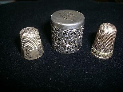 Antique & Vintage Sewing Lot Stering Thimble Holder & Thimble & Goldtone Thimble