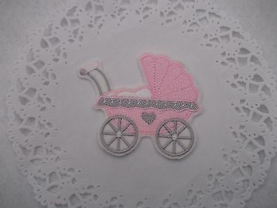 pink pram sew n iron on motif, patch,/ great for baby items