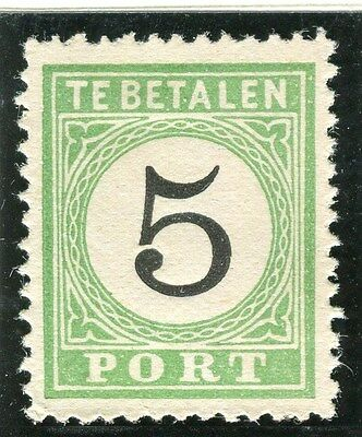 NETHERLANDS CURACAO;  1889 early Postage Due issue Mint unused 5c. value