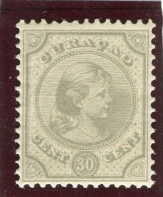 NETHERLANDS CURACAO;  1892 early Wilhelmina issue Mint hinged 30c. value