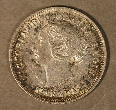 1890H Canada Silver 5 Cents High Quality Ltly Cleaned  ** FREE U.S. SHIPPING **