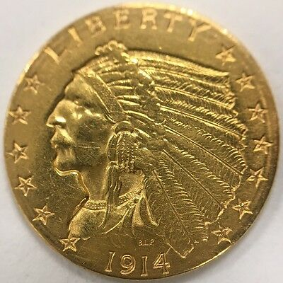 1914 D US United States Indian $2 1/2 Indian Quarter Eagle Gold Coin! 1112h