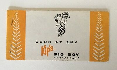Kips Big Boy Hamburger Restaurant 1960's Vintage Gift Certificate Book
