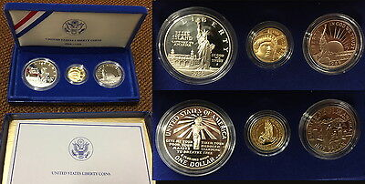 1986 3 coin Proof  STATUE of LIBERTY SET W/ COA FLAWLESS COINS FRESH PACKAGING