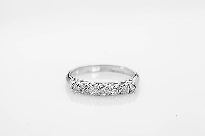 Antique 1940s 7 Diamond .50ct Platinum Wedding Band Ring