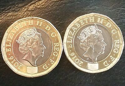 Set of 2 New 2016 £1 coins with defects