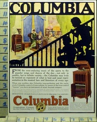 1920 Columbia Graphophone York Music Family Dance Party Vintage Art Ad  Bk32
