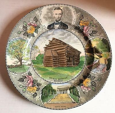 LINCOLN'S BIRTHPLACE PLATE Jonroth Adams Old English Staffordshire Hodgenville