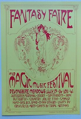 The Doors, Jefferson Airplane, Etc. Fantasy Faire Poster Nm+