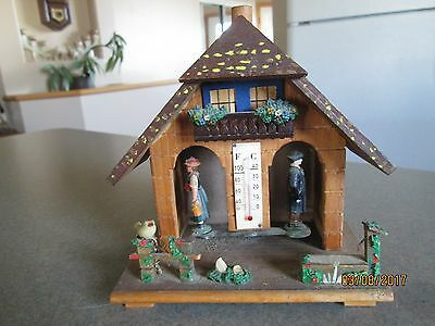 Vintage TOGGILI Wooden Chalet Weather Station Thermometer- Made in Germany