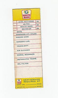Old White Rose Lubrication Sticker Tag Oil Change