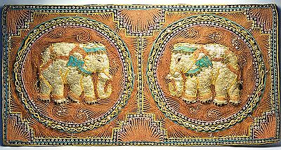 Antique Burmese Kalaga Hand Beaded Tapestry Thread Embroidery Elephants